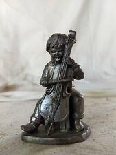 "Hallmark 3"" ""Frank"" Miniature Pewter Figurine Collectors Club Society Cello Boy"