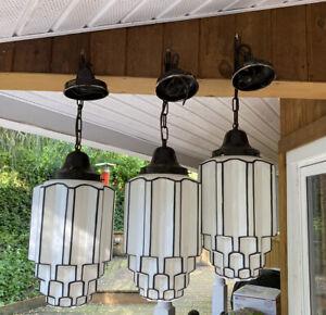1 Amazing Original Art Deco Miller Lamp Co. Skyscraper Pendant Light Chandelier