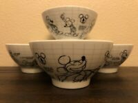 Disney Sketchbook Mickey Mouse Cereal /Soup Bowls Set of 4 NEW