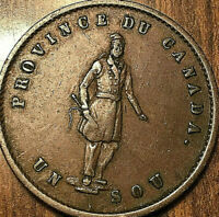1852 LOWER CANADA QUEBEC BANK HALFPENNY TOKEN UN SOU - Fantastic example!