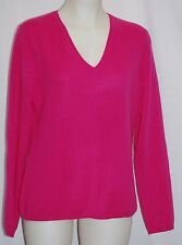 CHARTER CLUB 100% 2-Ply Cashmere Deep Blush V-Neck Sweater X-Small $139 NWT