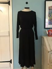 Gorgeous & Other Stories Black Boat Neck Viscose Midi Dress With Pockets 36/M/10