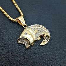 Mens Ocean Big Fish Pendant Necklace Gold Plated Fashion Gift Charm Jewelries