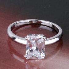 18K White Gold Filled Crystal Solitaire Ring size M  1111