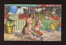 Animals anthropormorphic PIGS Piglets go to Market Artist Molly Brett PPC
