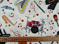 Musical fabric instruments by  Blank Quilting metre pieces 100% cotton
