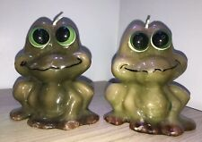 """A Pair Of Vintage Figural Candle - Happy Frog 5"""" Tall 2 Adorable Candles"""