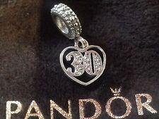 Pandora Sterling Silver 30th Birthday 30 Anniversary Charm 791287cz Free Pouch