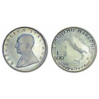 Italia 1974 REPUBBLICA ITALIANA Nascita G.Marconi 500 Lire Argento FDC MO43