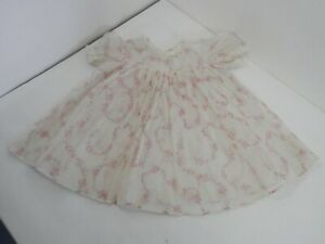 Vintage Sheer White Baby Dress Pink Flowers Lace Micro Pleats w/ slip 1950s