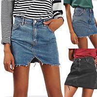 Womens Frayed Denim Skirt Bodycon Casual A-Line Pencil Mini Jeans Short Dress
