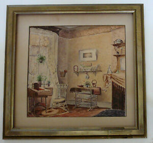 PAINTING, WATERCOLOR, BROWNSTONE INTERIOR, STATE STREET,  BROOKLYN, NEW YORK.  S