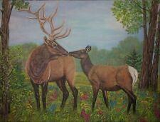 "original oil painting Elk kiss  - size 24""x 18"" x 5/8"""