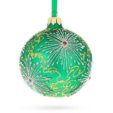 Snowflakes on Green Glass Ball Christmas Ornament 3.25 Inches
