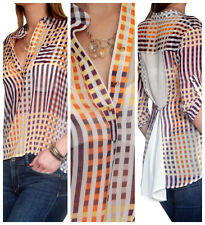 Ladies Blouse Shirt Chiffon Womens Tops Long Casual Top Size 8 10 12 14 16 18