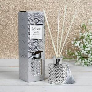 Desire Vanilla & Anise Boutique Reed Diffuser Silver Glass Jar Tassel 100ml