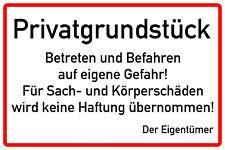 """Hinweisschild 300x200mm """"Privatgrundstück - Betreten und Befahren..."""" Alu VB"""
