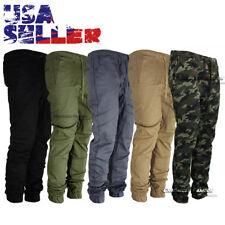 Mens Twill Jogger Pants Casual Drop Crotch Slim Elastic Joggers Trousers Hip Hop