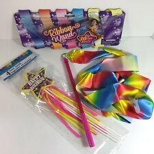 10' Rainbow Dance Ribbon Twirling Gymnastics + 4-PK Foam Birthday Streamer Wands