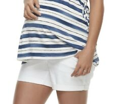 """Maternity a glow White Size 12 Cuffed Full Belly Panel Jean Shorts 4.5"""" Inseam"""