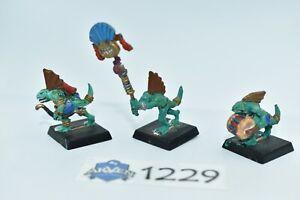 3 skink command group, metal, lizardmen, seraphon, warhammer