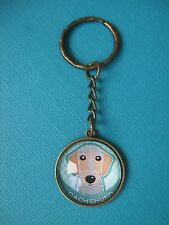 Wire Dachshund Dog Keyring Puppy Metal Handmade Bag Charm Bronze Turquoise Art