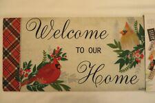 """Welcome TO OUR Home"" Cardinals Sassafras Rug Insert Switch Door Mat 10x22"