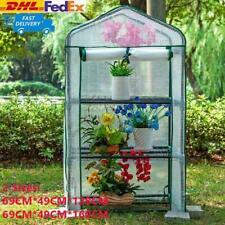 3/4 Tier Mini Greenhouse PVC Cover Garden Grow House Four Shelves Roll Door Xmas