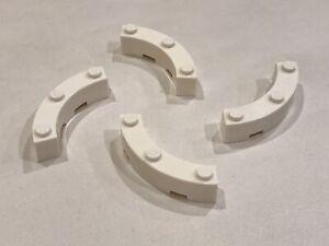 4x LEGO WHITE CURVED PIECES 4x4 MACARONI P/N 48092 NEW