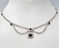 Vintage Mid-Century Silver Tone Black & White Swag Rhinestone Necklace DS-17