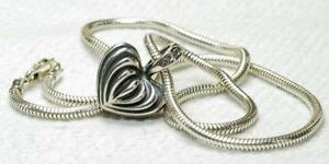Estate Lagos caviar Sterling Silver fluted Heart Pendant w/ Sterling Snake Chain
