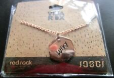 "Jaeci® 14K Pltd Rose Gold 30"" Adj Chain Charm Necklace ""Lucky / Clover"" Red Rock"
