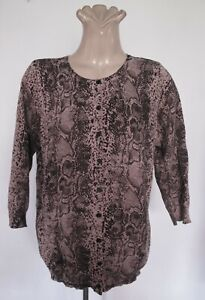CARDIGAN Animal print 3/4 sleeve Round neck Knit TOP Jumper M-L Layer Brown Chic