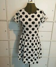 Topshop White with black polka dots Spotty t shirt Skater Dress Size 8 uk