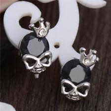 Fashion Women Men Jewelry Silver CZ Crystal Rhinestone Skull Ear Stud Earrings