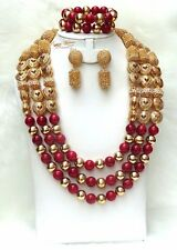 Elegant Heart Plated Shaded Red Beads Gold Balls Bridal Party Jewellery