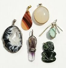Lot of 6 Silver & Gold-filled Gemstone Necklace Pendants