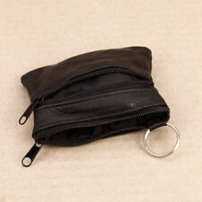 UNISEX MENS LADIES SOFT BLACK LEATHER COIN POUCH PURSE 3 ZIP WALLET- UK STOCK