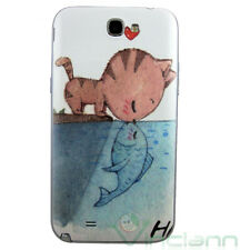 Cover copri batteria gatto e pesce per Samsung Galaxy Note 2 N7100 copribatteria