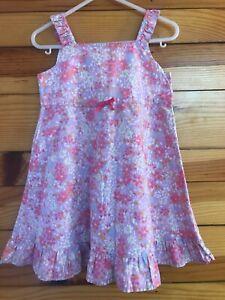 Hanna Andersson Lilac Floral Dress Girls Sleeveless Ruffled Hem Size 90 3