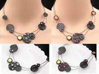 crystal black round circle enamel choker gunmetal plated necklace jewelry K33