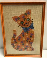 Hand Crafted Finished Framed Cat Embroidered Needlepoint circa 1950 1960
