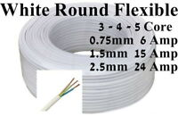 White Black Electrical Cable 2-5 Core 0.75-2.5mm 1-30m Round Flexible from £0.99