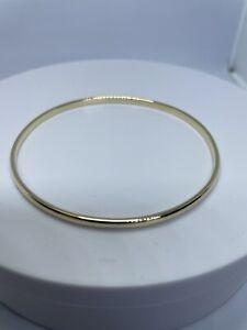 Hallmarked 9ct Gold Handmade 3mm D-section Slave Bangle