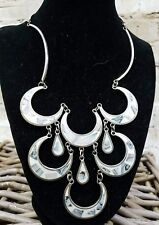 ALPACA SILVER CREAM INLAY ABALONE SCALLOPED NECKLACE & EARRINGS