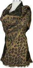Pashmina Schal, 100% Wolle wool scarf stole écharpe foulard  Animalprint edel