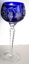 1 AJKA Marsala Cobalt Blue cased cut to clear Hungarian crystal wine goblet