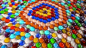 100 x Glass  Pebbles / Nuggets / Stones / Gems / Mosaic Tiles - Mixed Colours