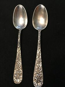 """Two 5 7/8"""" Stieff Repousse Sterling Silver Spoon, Very Nice."""