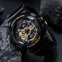Military Fashion Men's Sport Digital Quartz Analog 50M Waterproof Watch Gold US